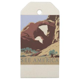 Etiquetas De Madera Para Regalos Sudoeste América los E.E.U.U. del poster del viaje