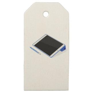 Etiquetas De Madera Para Regalos Tableta en soporte y pluma digital