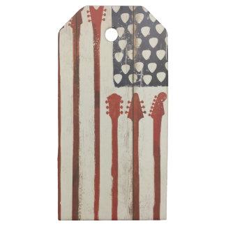 Etiquetas De Madera Para Regalos Tema patriótico de la música de la guitarra de la