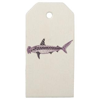 Etiquetas De Madera Para Regalos Tiburón de Hammerhead