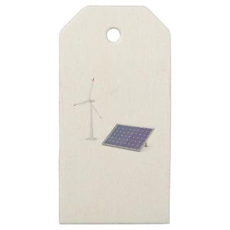 Etiquetas De Madera Para Regalos Turbina de viento y el panel solar