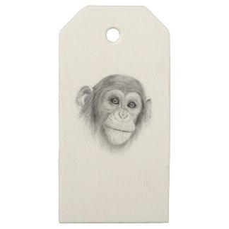 Etiquetas De Madera Para Regalos Un chimpancé, no monkeying alrededor bosquejo