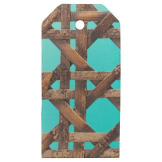 Etiquetas De Madera Para Regalos Una foto macra del artículo de mimbre de madera
