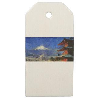 Etiquetas De Madera Para Regalos Van Gogh Mt-Fuji-Japón