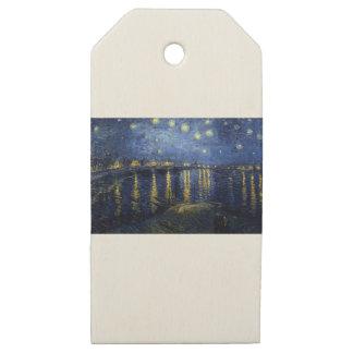 Etiquetas De Madera Para Regalos Van Gogh: Noche estrellada sobre el Rhone