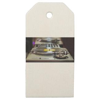Etiquetas De Madera Para Regalos Vintage retro del vinilo de la placa giratoria del