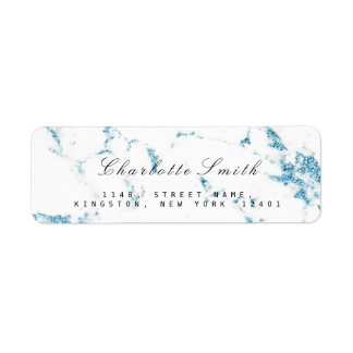 Etiquetas de mármol azules blancas mínimas del