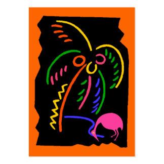 Etiquetas de neón retras del regalo del flamenco d plantilla de tarjeta personal