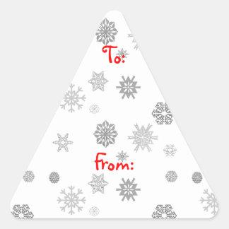 Etiquetas de plata del regalo de los copos de pegatina triangular