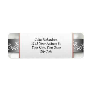 etiquetas de plata elegantes del remite del metal  etiquetas de remite