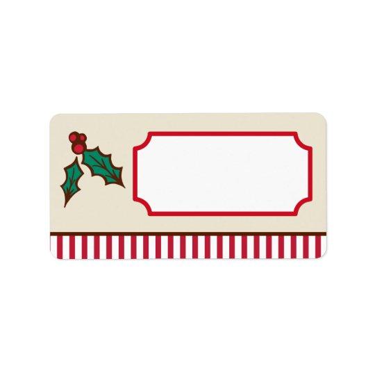Etiquetas del acebo del navidad etiqueta de dirección