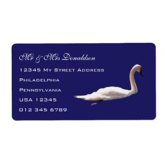 Etiquetas del azul de la dirección del cisne etiquetas de envío