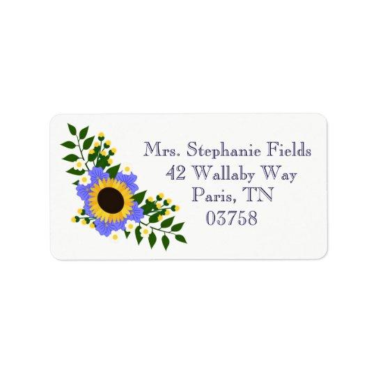 Etiquetas del boda del girasol etiqueta de dirección