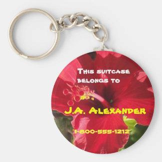 Etiquetas del bolso del hibisco llavero redondo tipo chapa