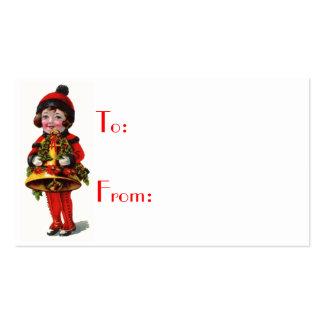 Etiquetas del chica del navidad del vintage y del tarjetas de negocios