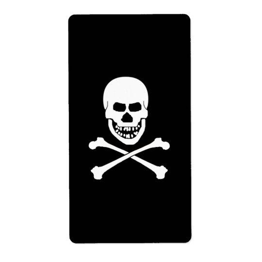 Etiquetas del cráneo y del vino de la bandera