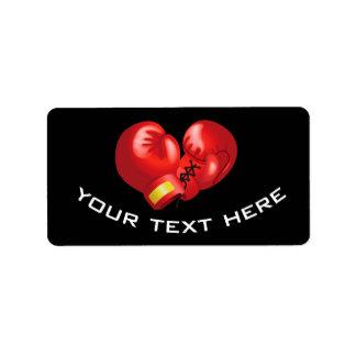 Etiquetas del diseño de los guantes de boxeo etiquetas de dirección