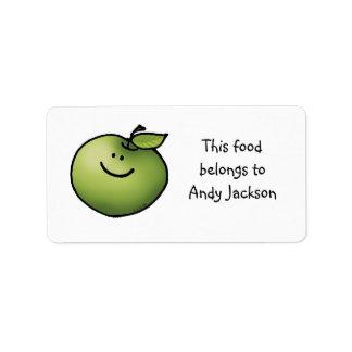 Etiquetas del dueño de la comida (manzana verde) etiqueta de dirección