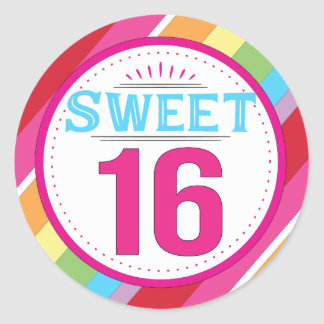 Etiquetas del dulce 16 pegatina redonda