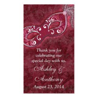 Etiquetas del favor del boda de la mascarada de la tarjetas de visita