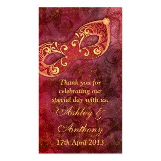 Etiquetas del favor del boda de la mascarada del o tarjetas de visita