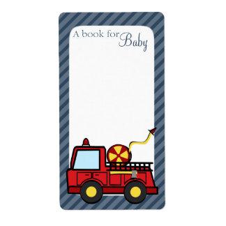 Etiquetas del libro del bebé del coche de bomberos etiqueta de envío