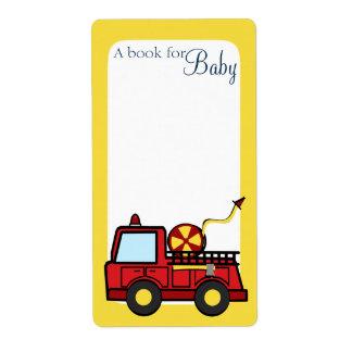 Etiquetas del libro del bebé del coche de bomberos etiquetas de envío