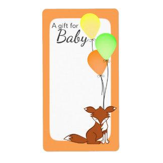 Etiquetas del libro del bebé del Fox y del globo Etiquetas De Envío