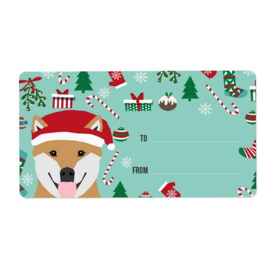 Etiquetas del navidad de Shiba Inu - navidad del Etiqueta De Envío