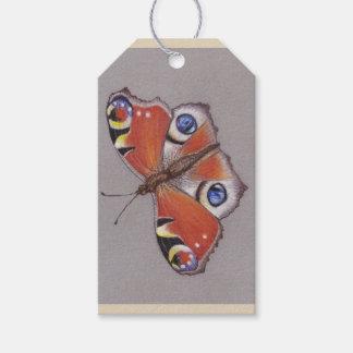 Etiquetas del regalo con diseño de la mariposa de