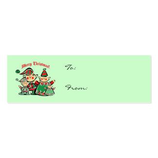 Etiquetas del regalo de la familia del duende tarjeta personal