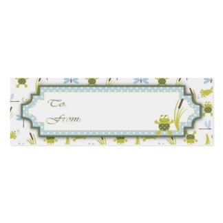 Etiquetas del regalo de la rana y de la libélula d plantilla de tarjeta personal
