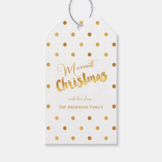 Etiquetas del regalo de los lunares del oro de las etiquetas para regalos
