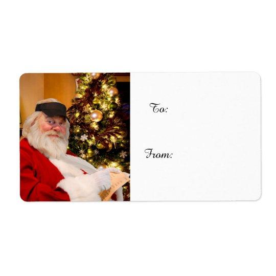 Etiquetas del regalo de Navidad de Papá Noel Etiqueta De Envío