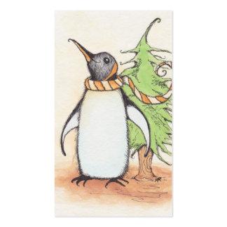 Etiquetas del regalo de vacaciones del pingüino tarjetas de visita