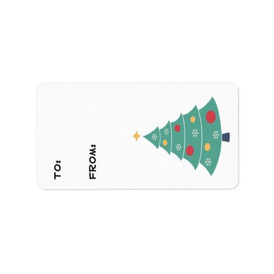 Etiquetas del regalo del árbol de navidad etiquetas de dirección