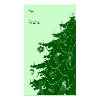 Etiquetas del regalo del árbol de navidad tarjetas de visita