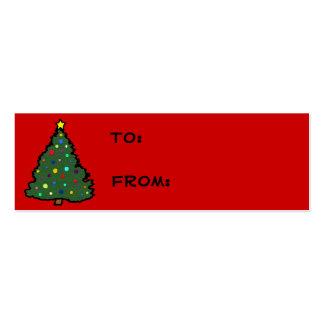 Etiquetas del regalo del árbol de navidad tarjetas de visita mini