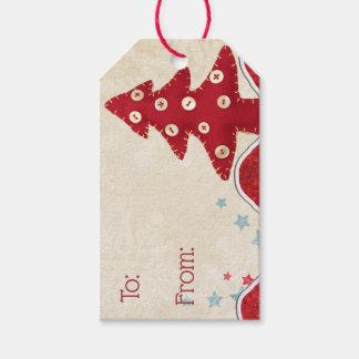 Etiquetas del regalo del árbol de navidad y del