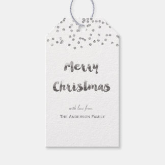 Etiquetas del regalo del brillo de la plata de las etiquetas para regalos