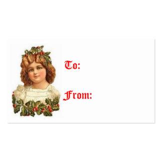 Etiquetas del regalo del chica del navidad del tarjetas personales
