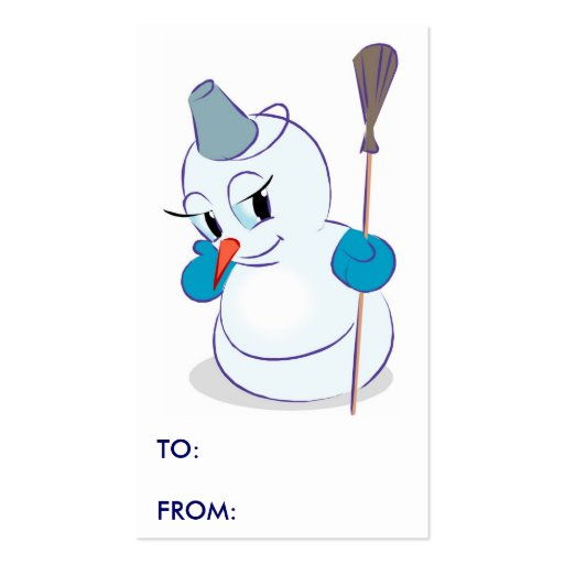 Etiquetas del regalo del muñeco de nieve del invie plantillas de tarjeta de negocio