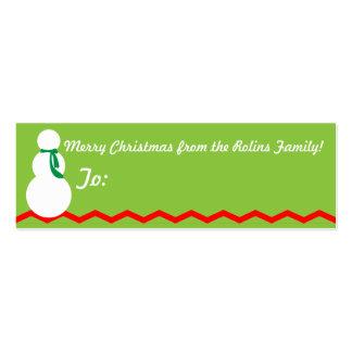Etiquetas del regalo del muñeco de nieve del navid tarjetas de visita mini