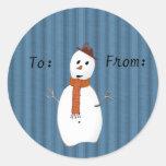 Etiquetas del regalo del muñeco de nieve del país