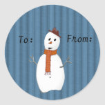Etiquetas del regalo del muñeco de nieve del país pegatina redonda