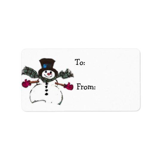Etiquetas del regalo del muñeco de nieve por etiquetas de dirección