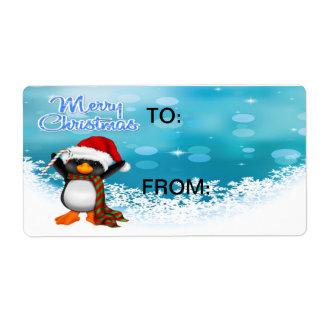 Etiquetas del regalo del pingüino de las Felices N Etiqueta De Envío