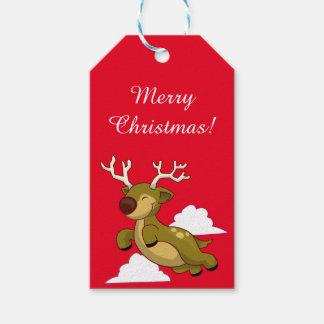 Etiquetas del regalo del reno del vuelo etiquetas para regalos