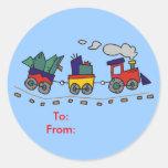 Etiquetas del regalo del tren del navidad