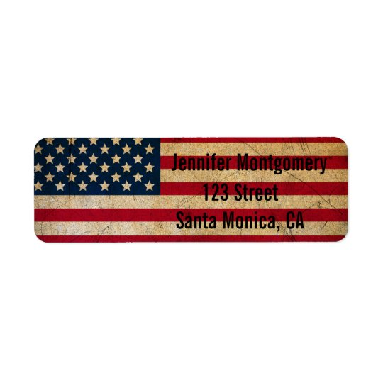 Etiquetas del remite de la bandera americana del etiqueta de remitente